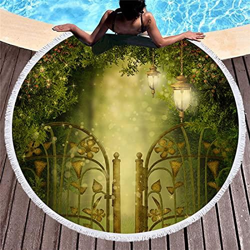 Toalla De Playa Redonda De Microfibra Impresión Digital 3D Patrón De Bosque Estera De Playa De Secado Rápido Toalla De Baño Absorbente Resistente A La Arena 150 * 150cm