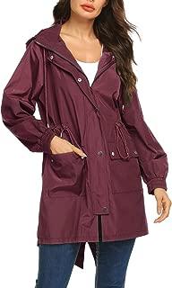Women Lightweight Rain Jacket Packable Hooded Fashion Rainwear Running Jacket