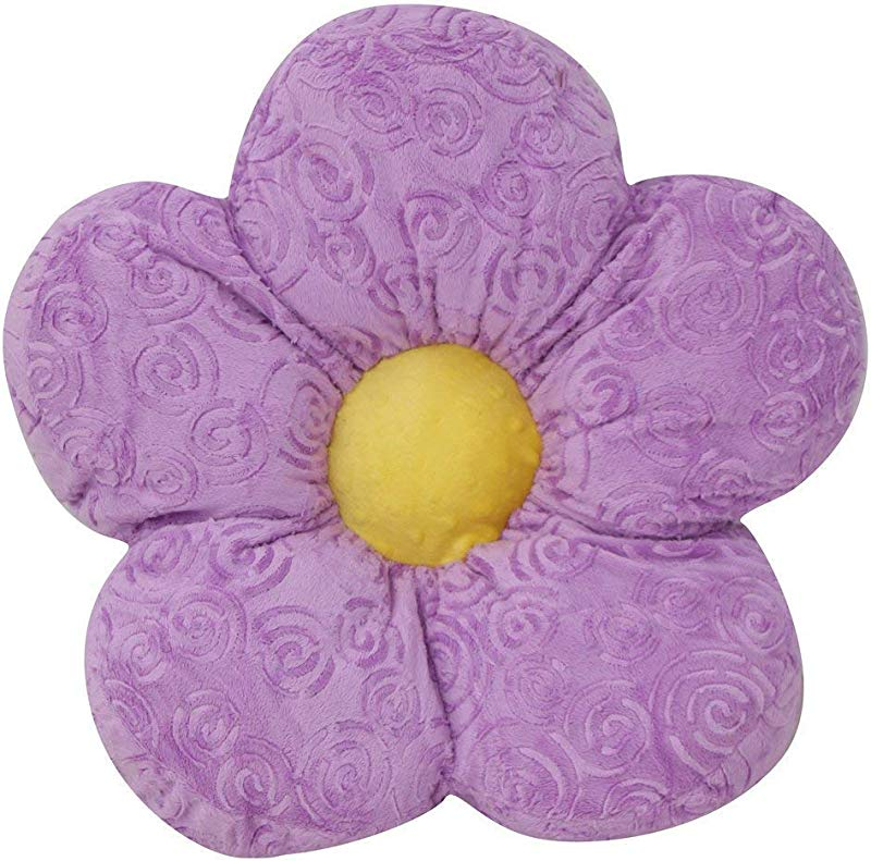 Snuggle Stuffs Adorable 18 Minky Flower Lavender Throw Pillow