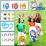 Sack Race Bag for Kids Easter Toys Party Favors for 6 Players Outdoor Yard Lawn Backyard Games with Animals Sack Race Bags, Egg and Spoon Race Game, Bunny Ears Headbands, Legged Relay Race Bands for Kids Boys Girls Family Easter Eggs Hunt Activities Outside Outdoor Toys