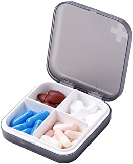 ZDQZC Pill Organizer - Portable Pill Box Small Pill Container for Purse or Pocket, Excellent Pill Storage Case (Gray, 4 Compartment)
