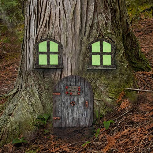 Juegoal Miniature Fairy Gnome Home Window and Door for Trees, Yard Art Garden Sculpture Decoration