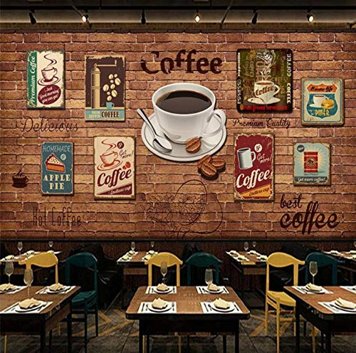 HUATULAI Wandgemälde 3D Hintergrund Retro Nostalgie Kaffee Icons Roter Backstein Tapete Cafe Restaurant Kaffeehaus Industriedekor Tapete-250 * 175Cm