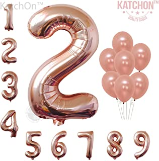 Rose Gold Number 2 Balloon, Large, Pack of 9 | 2nd Birthday Number Balloons Decorations Party Supplies | Foil Mylar and Latex Balloon | Match for Other Birthday Ballon Numbers | Second Birthday