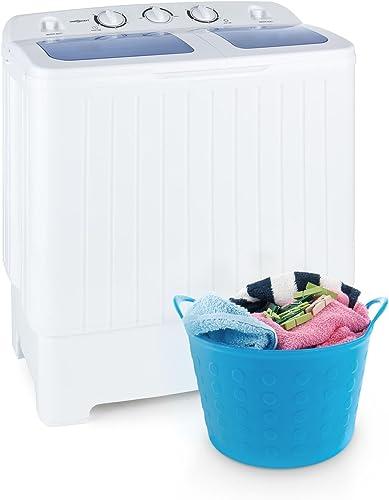 OneConcept Ecowash XL White Line - Mini machine à laver, Essoreuse 3 kg et 100W, Capacité de lavage de 4,2kg et 300W,...