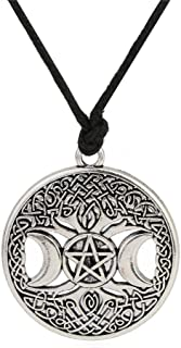 Wicca Triple Moon Goddess Pentacle adjustable rope chain pendant necklace (Antique Silver)