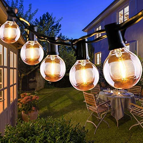 Qxmcov Guirnaldas Luces Exterior, 25+3 LED 9.5m G40 Guirnaldas Luces Interior, IP44 Impermeable Guirnalda Bombillas, luces jardin Para Exterior, Patio, Boda, Partido.