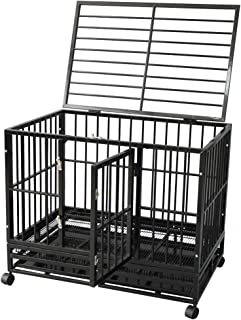 DodreHome Heavy Duty Dog Cage Crate for Large Dogs,Strong Metal Kennel with Four Wheels and One Tray,42-Inch Black Color
