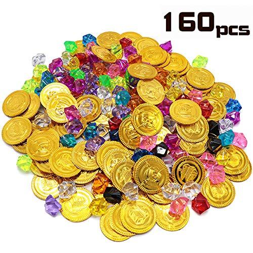 JUZNOY Goldmünzen Kinder, 160pcs Goldmünzen Spielzeug Goldmünzen Piratenschatz für Schatzsuche - 80 Münzen + 80 Strasssteine