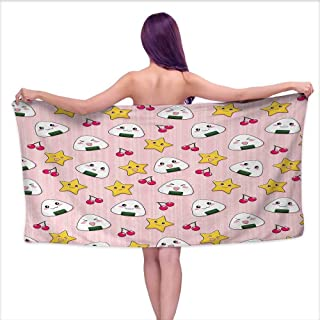 Glifporia Print Bathroom Accessories Set Anime,Happy Crying Cute Cartoon Rice Balls Cherries Stars Pattern on Stripes Art,Pink Yellow and White,W10 xL39 for Baby Girl