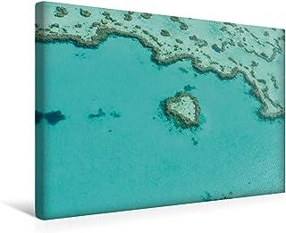 Premium - Lienzo textil, 45 x 30 cm, horizontal, diseño de corazón en el reef de Australia, color natural