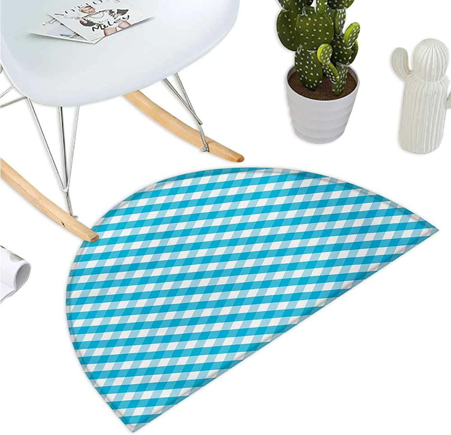 Checkered Half Round Door mats Diagonal Stripes in Aqua color Monochrome Crossed Lines in Classical Tile Design Bathroom Mat H 47.2  xD 70.8  Aqua White