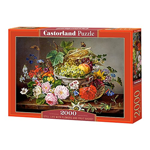 Castorland- Still Life with Flowers and Fruit Basket - Puzzle (2000 Piezas), Color carbón (C-200658-2)