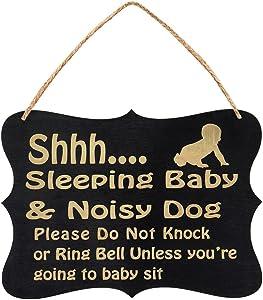 WINOMO Shhh Sleeping Baby Door Sign Do Not Disturb Sign Baby Room Hanging Wooden Decorative Sign Do Not Knock or Ring Baby Sleeping Hanger Sign (Black)
