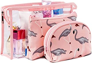 Flamingo Cosmetic Pouch Large Transparent Waterproof Travel Toiletry Bags Portable Makeup Clutch Organizer for Women Girls with Zipper by Fiphie