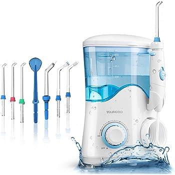 YOUNGDO Munddusche Elektrisch 600ML, Professioneller Zahnreiniger mit 20-120 PSI einstellbarer Wasserdruck, Wasser Flosser mit 7 Düsen, Aufbewahrungsbox und Kabel, Oral Irrigator Ideal für Familie