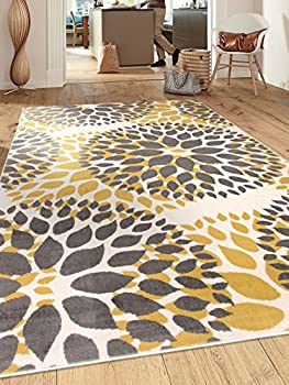 Modern Floral Circles Design Area Rugs 5  X 7  Yellow