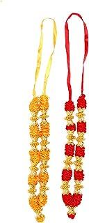 Aditri Creation Set of 2 Red and Orange Artificial Flowers Ribbon Garland Haar Mala for Idol-Mala for God, Pooja Sringar A...