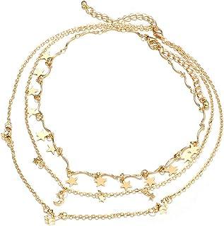 Collana A Clavicola da Donna A Strati, Collana A Stella di Luna Multistrato, Collana di Diamanti A Tre Strati