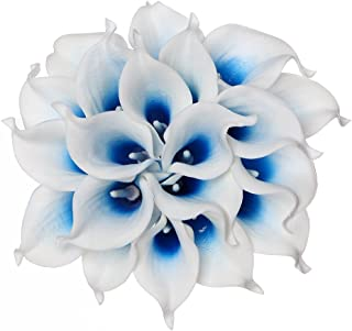 Houda Calla Lily Bridal Wedding Artificial Fake Flowers Party Decor Bouquet PU Real Touch Flower 10PCS (White Blue)
