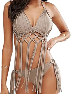 ビキニ水着セクシーな肌の色のスプリット温泉水着スーツ女性の手織りタッセル