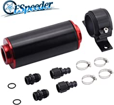 6AN Inline Fuel Filter Kit with Bulkhead Adapters, Push Lock Fittings and Fuel Filter Mounting Bracket for 3/8 Fuel Line Hose, Great for Gasoline, E85 Ethanol Fuel and Diesel