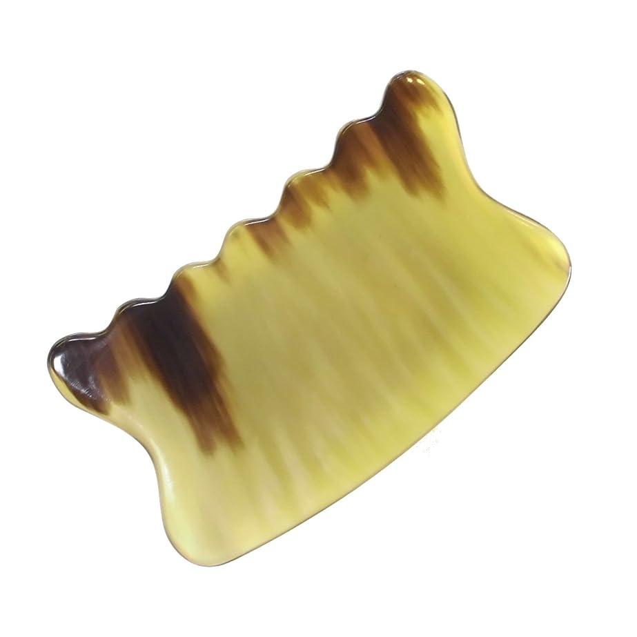乱気流引き出し透過性かっさ プレート 希少69 黄水牛角 極美品 曲波型