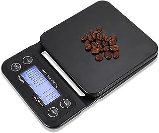 Perfectii Café De Comida De Cocina Balanzas, 6,6 LB/3 Kg Alimento Multifunción Escala Timer 0,1 G Precisión Sensores con Pantalla LCD