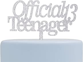 Official Teenager Acrylic Cake Topper,13th Birthday Cake Topper, 13th Birthday Party Decor (Silver)