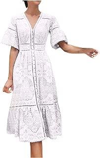 Women's Casual Short Sleeve Boho V Neck Dresses Openwork Single-Breasted Lace Loose Dress Flowy Beach Midi Dresses