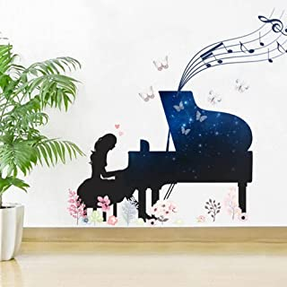 Blue Star Piano Girl Wall Sticker Butterfly Flower for Home Decor Kids Room Bedroom Nursery Background Mural Art Decals St...