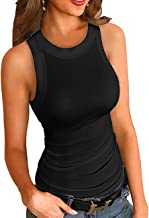 Bhwin Women Fashion Cotton Round Neck Ribbed Tank Top Solid Top (S, Black)