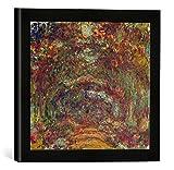 Gerahmtes Bild von Claude Monet The Rose Path, Giverny, 1920-22', Kunstdruck im hochwertigen handgefertigten Bilder-Rahmen, 30x30 cm, Schwarz matt