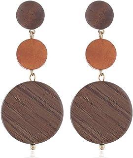 Log Earrings Colorful Wooden Round Long Earrings (Brown)