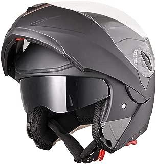 AHR Full Face Flip up Modular Motorcycle Helmet DOT Approved Dual Visor Motocross Matt Black XL