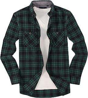 Mens Casual Button Down Shirts Regular Fit Long Sleeve Plaid Flannel Shirt