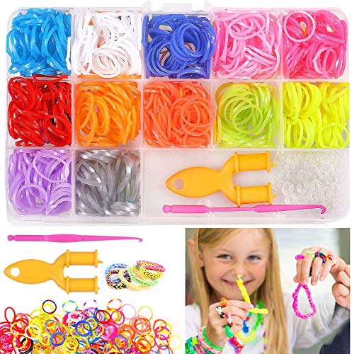 N\C Set di Nastri Loom, 600 Pezzi Rainbow Loom Nastri per Braccialetti, Elastici Fai-da-Te per Bambini, Strumenti per Maglieria con Collana di bracciali, Giocattoli per Bambini