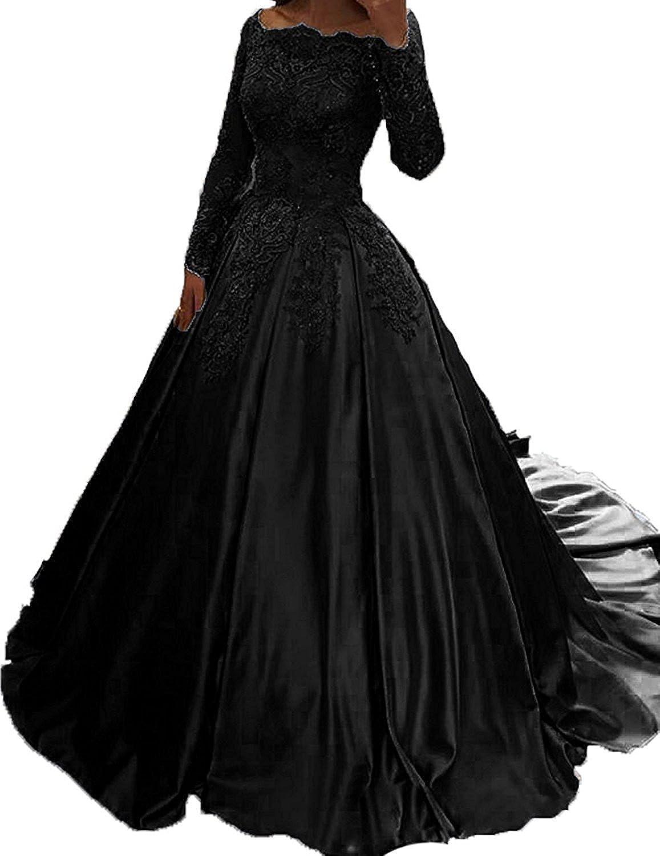 Ellystar Women's Bateau Long Sleeve Beaded Luxury Satin ALine Evening Dresses