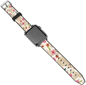 NiYoung Women Men Golden Retriever Floral Dogs Compatible with Apple Watch Bands 38mm 40mm 42mm 44mm Adjustable Sport Bands for iWatch