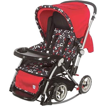 Mee Mee Baby Stroller Pram | Large Seating |Reversible Handle | Feeding Tray| Fully Rotating Wheels | for Newborn Baby/Kids, 0-5 Years (Red Grey)