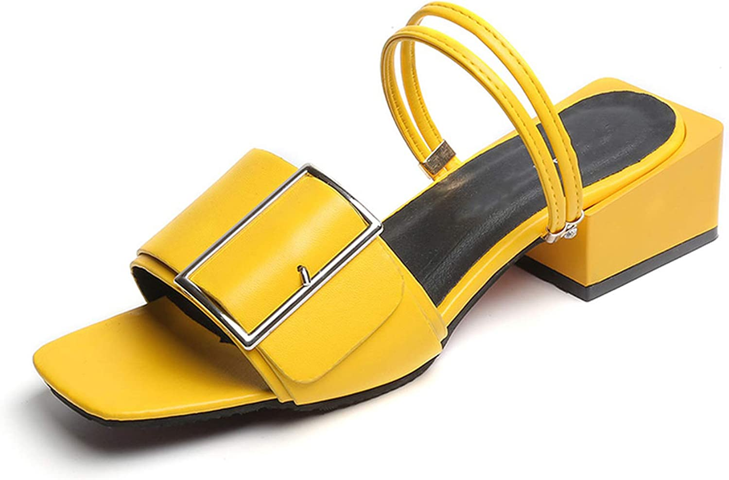 Party Slippers Women shoes Yellow Buckle Chunky Heel Ladies Slides Female Sandals shoes