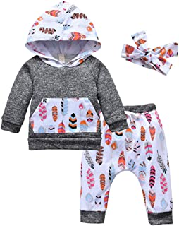 Toddler Baby Girl Winter Outfits Feather Print Hoodie and Pants with Headband