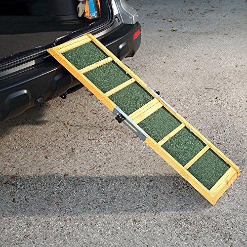 Melko Hundeleiter fürs Auto 160 x 30 cm Teleskop Hundetreppe mit Anti-Rutsch-Belag, klappbar