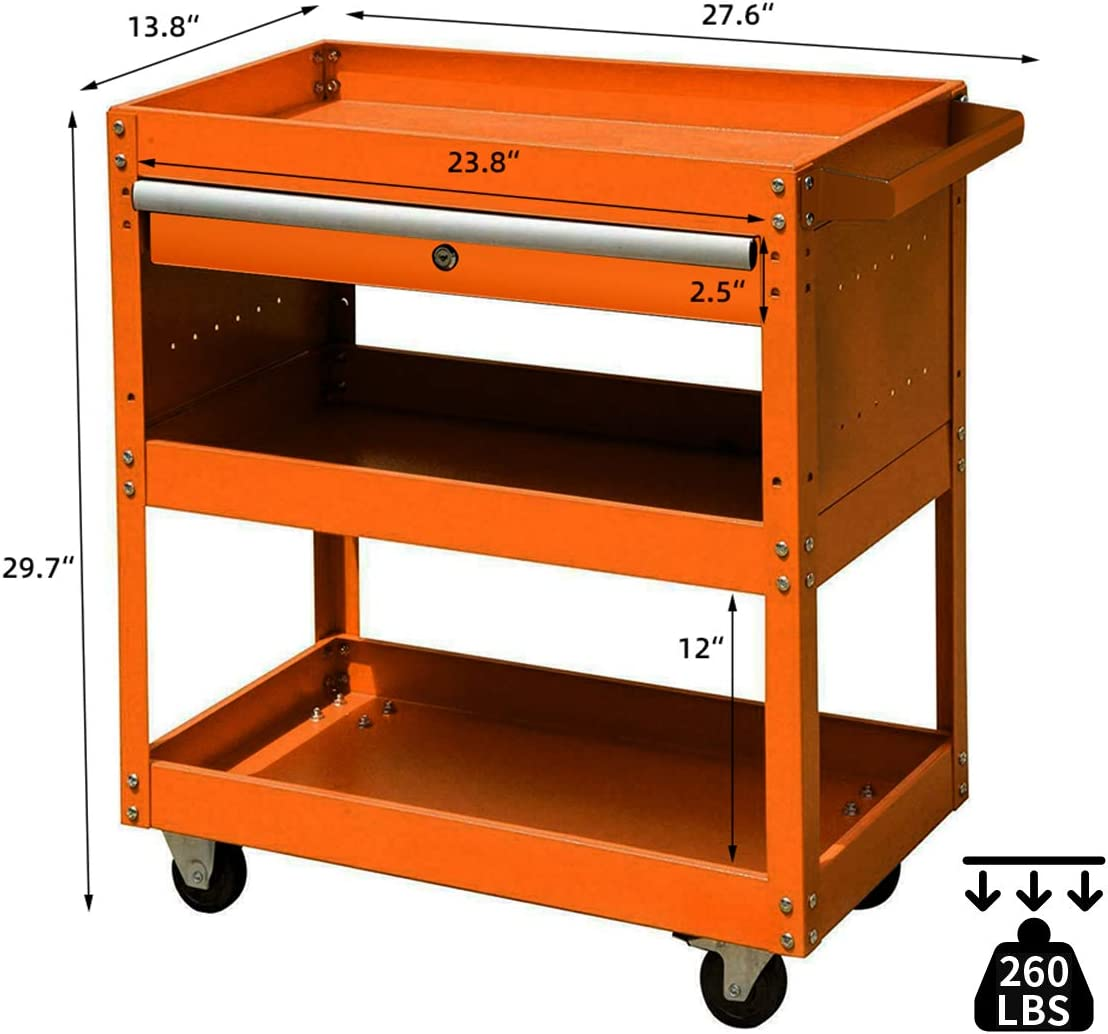 Rolling Service Tool Cart Mobile Tool Cart with A Capacity of 260 LBS and Lockable Drawers Mufti-function Storage Tool Cart with 3 Storage Trays Used in Warehouses and Garages