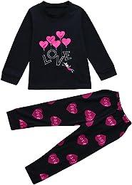 Ensembles de Pyjama Fille 1-7 Ans, T-Shirt Hauts à
