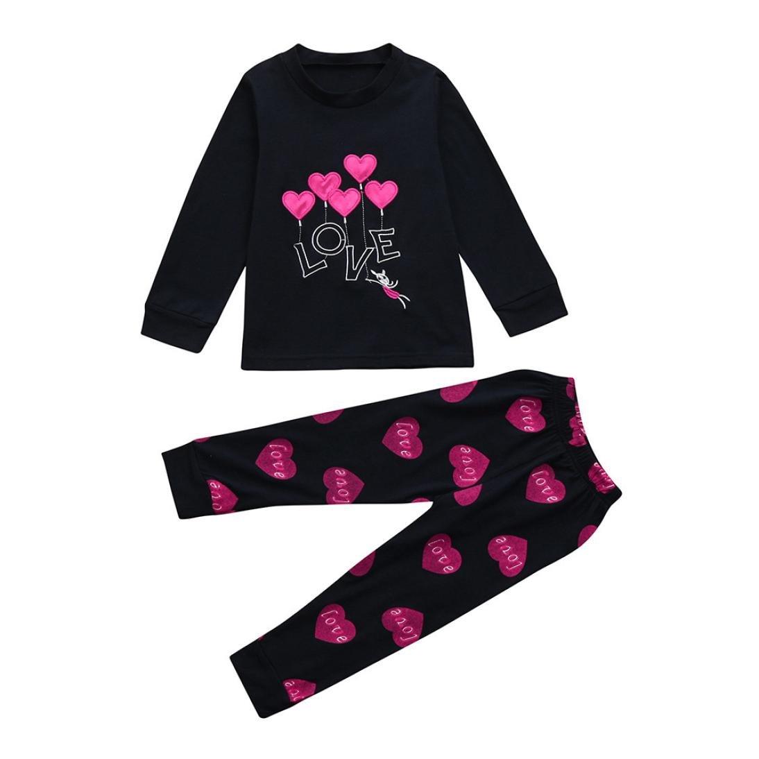 Ensembles de Pyjama Fille 1-7 Ans, T-Shirt Hauts à Manches Longues et Pantalon Garçon Costume Imprimé Vêtements de Nuit