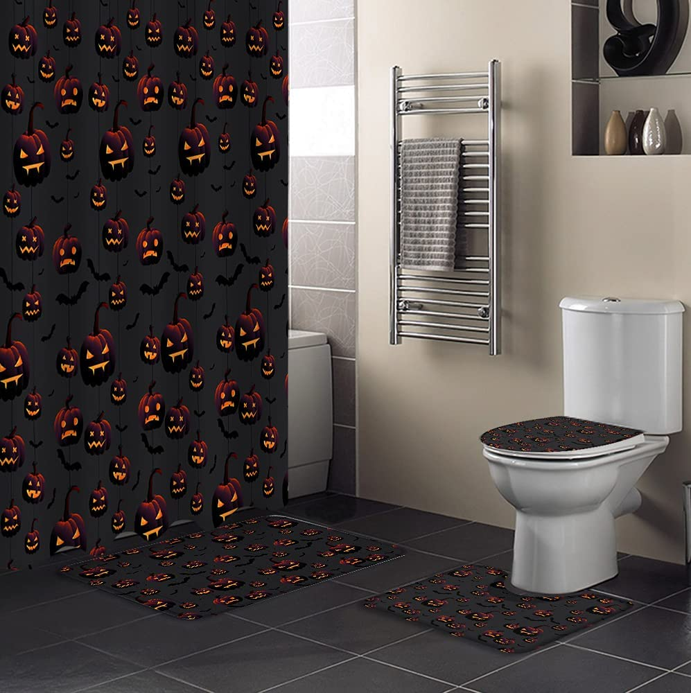 4 PCS Shower price Curtain Very popular Sets with Waterproof Non-Sli Bathroom