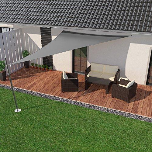 IBIZSAIL Sonnensegel wasserabweisend Sonnenschutz für Garten Balkon aus PES dreieckig-300 x 250 x 250 cm-Grau(inkl. Spannseilen)