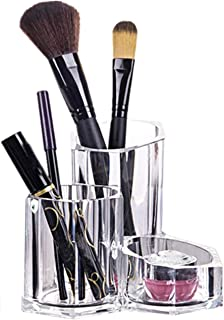 Make-updoos, Doorzichtige Plastic Cosmetische Opbergorganizer Desktoporganisator met 3 Prismatisch Compartiment, Lippensti...