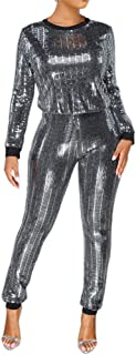 Adogirl Womens Sexy 2 Piece Outfits Glitter Sequin Metallic Top and Pants Set Bodycon Jumpsuit Romper Clubwear